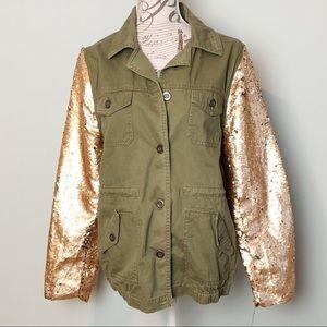 BKE flip sequin army green jacket size large nwot